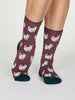 Kitty Bamboo Cat Socks in Mauve by Thought, Size 4-7-bamboofeet