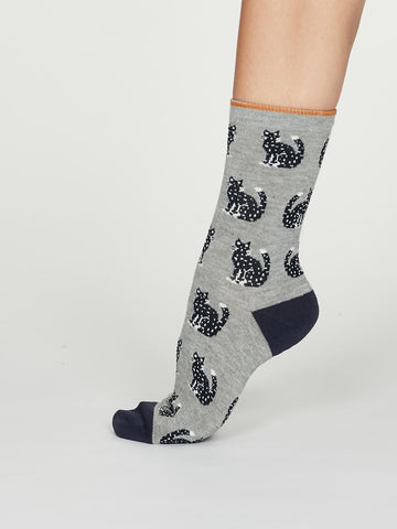 Kitty Bamboo Cat Socks in Mid Grey Marle by Thought, Size 4-7-bamboofeet
