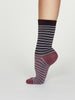 Isabel Bamboo Stripe Socks in Plum Purple by Thought Size 4-7-bamboofeet