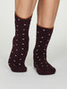 Organic Cotton Spot Walker Socks in Plum Purple by Thought, Size 4- 7-bamboofeet