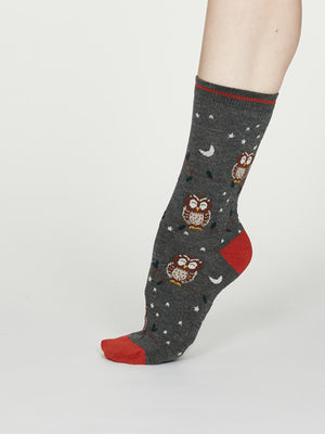 Night Owl Bamboo Spot Socks in Dark Grey Marle by Thought, Size 4-7-bamboofeet