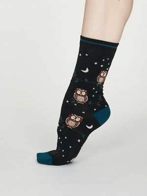 Night Owl Bamboo Spot Socks in Midnight Blue by Thought, Size 4-7-bamboofeet