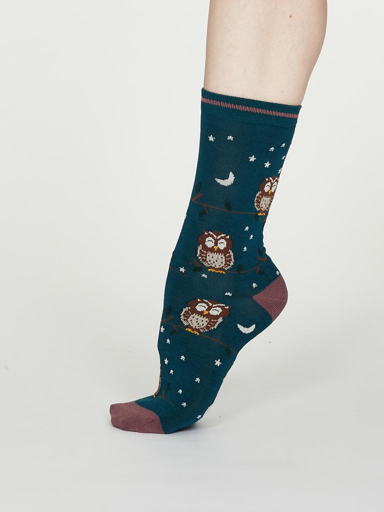 Night Owl Bamboo Spot Socks in Teal Blue by Thought, Size 4-7-bamboofeet