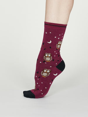 Night Owl Bamboo Spot Socks in Vivid Magenta by Thought, Size 4-7-bamboofeet