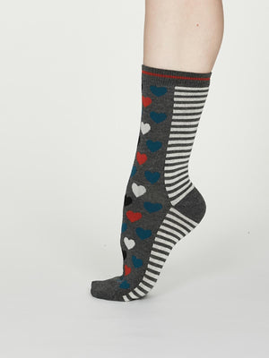 Eileen Bamboo Heart Stripe Socks in Dark Grey Marle by Thought, Size 4-7-bamboofeet