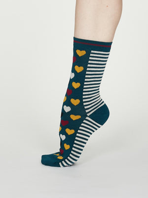 Eileen Bamboo Heart Stripe Socks in Teal Blue by Thought, Size 4-7-bamboofeet
