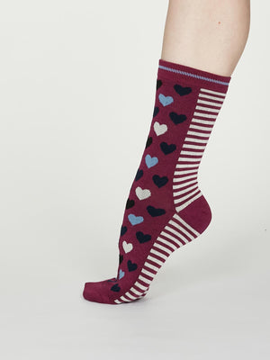 Eileen Bamboo Heart Stripe Socks in Vivid Magenta by Thought, Size 4-7-bamboofeet