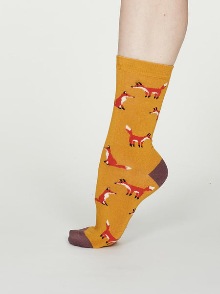 Foxy Bamboo Fox Socks in Mustard by Thought, Size 4-7-bamboofeet