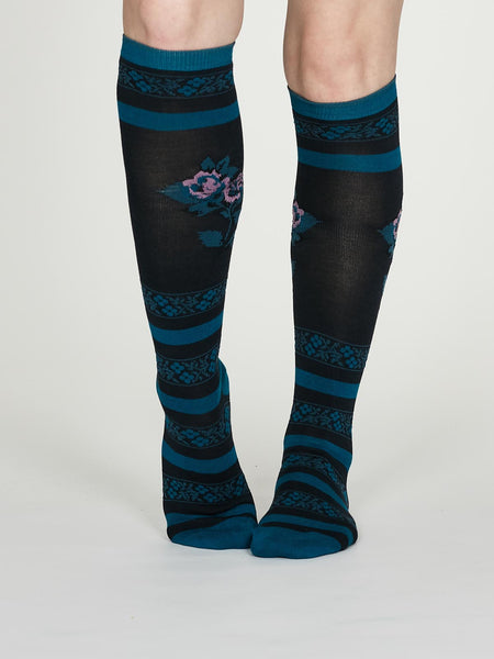 Denise Bamboo Knee Sock in Midnight Blue by Thought Size 4-7-bamboofeet