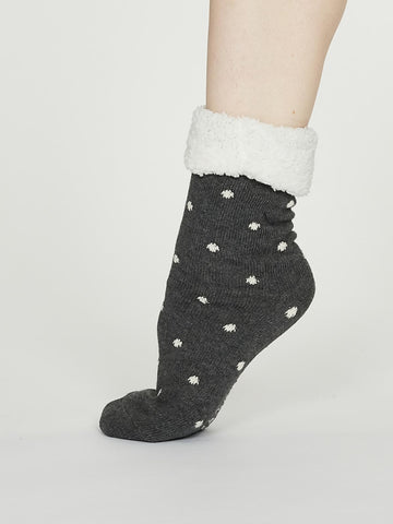 Elizabeth Organic Cotton Cabin Socks in Dark Grey Marle by Thought, Size 4-7-bamboofeet