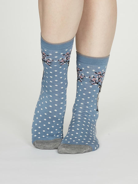 Elias Bamboo Christmas Reindeer Socks in Powder Blue by Thought, Size 4-7-bamboofeet