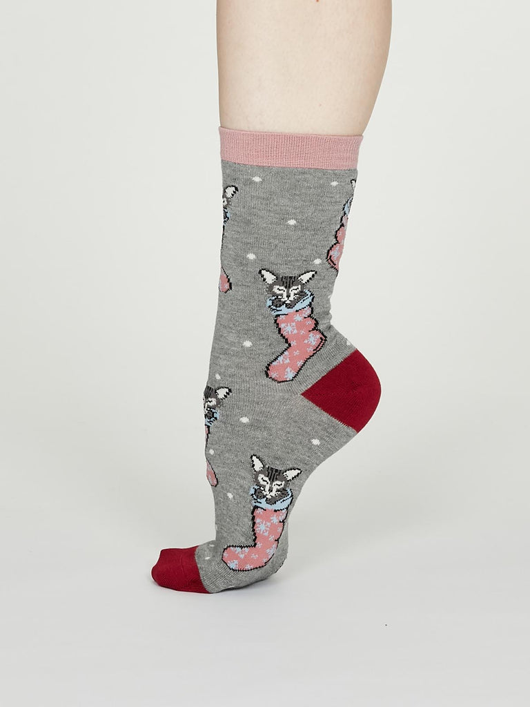 Jena Bamboo Christmas Kitten Socks in Mid Grey Marle by Thought - Size 4-7-bamboofeet