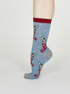 Jena Bamboo Christmas Kitten Socks in Powder Blue by Thought - Size 4-7-bamboofeet