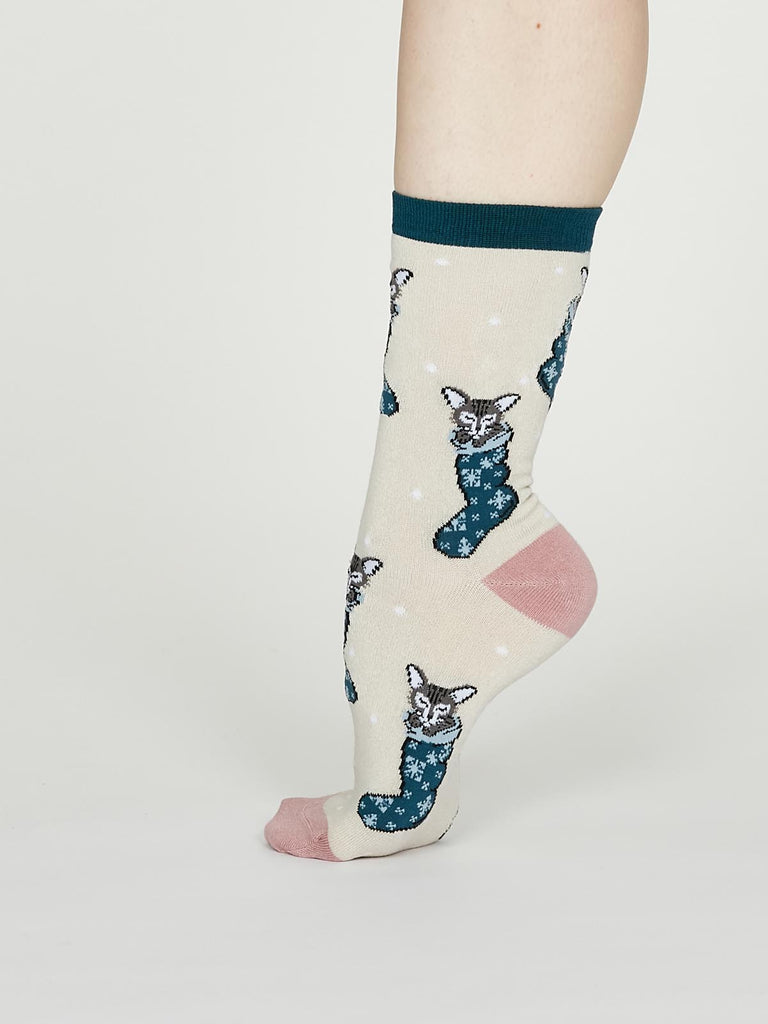 Jena Bamboo Christmas Kitten Socks in Vanilla by Thought - Size 4-7-bamboofeet