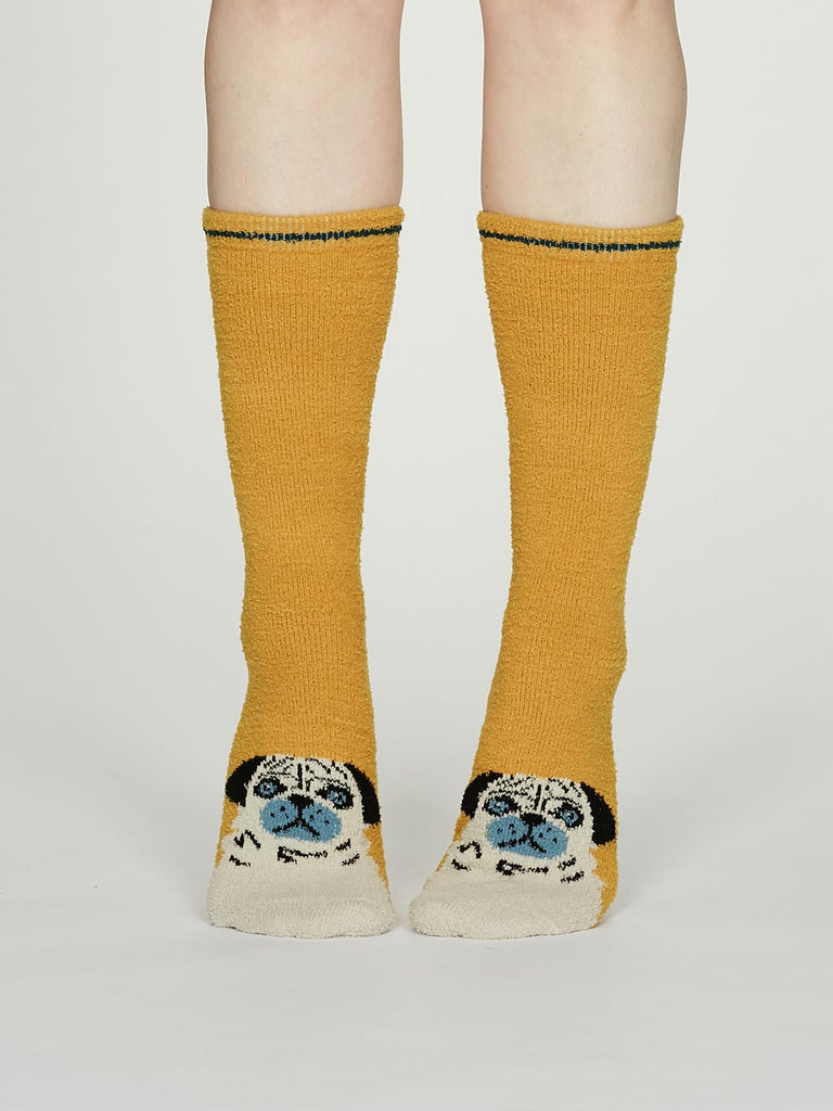 Rebecca Dog Fuzzy Animal Recycled Socks in Mustard by Thought, Size 4-7-bamboofeet