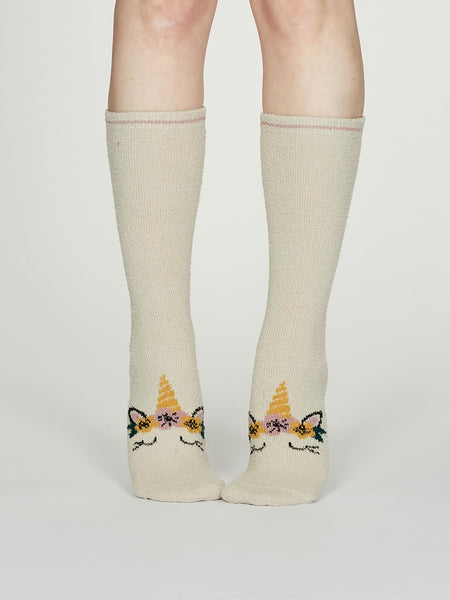 Rebecca Fuzzy Animal Recycled Socks in Vanilla by Thought, Size 4-7-bamboofeet