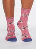 Gladys Spotty Bicycle Bamboo Organic Cotton Blend Socks in Dark Rose Pink by Thought-bamboofeet