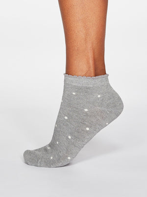Eudora Spotty Bamboo Organic Cotton Trainer Socks in Grey Marle by Thought-bamboofeet