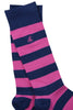 Rich Pink Striped Soft Top Comfort Cuff Bamboo Socks by Swole Panda, Size 7-11