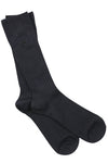 Jet Black Ribbed Soft Top Comfort Cuff Bamboo Socks by Swole Panda, Size 7-11