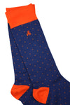 Spotted Orange Bamboo Socks by Swole Panda, Size 7-11 and 12-15