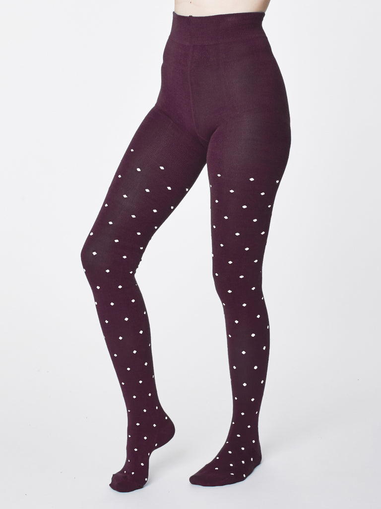 Bamboo Tights in Aubergine Spot by Thought-bamboofeet
