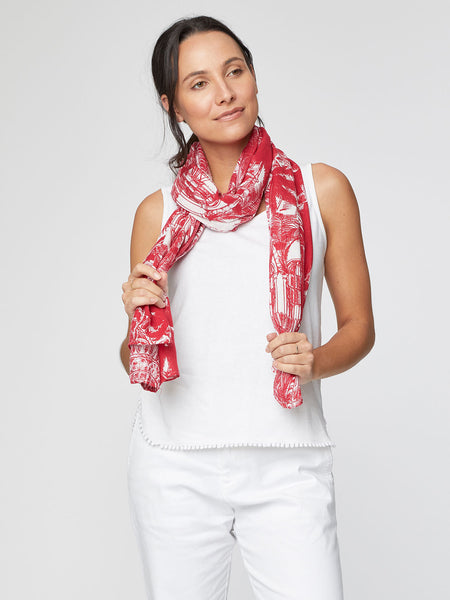 Palm House Botanical Print Bamboo Scarf in Hibiscus Red by Thought-bamboofeet