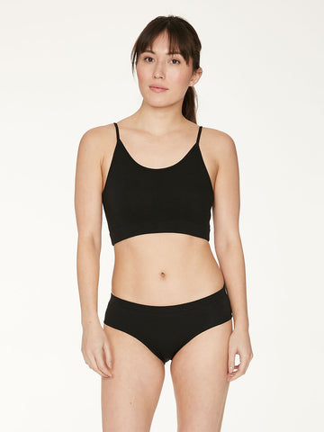 Leah Womens Organic Cotton Bralet in Black by Thought-bamboofeet