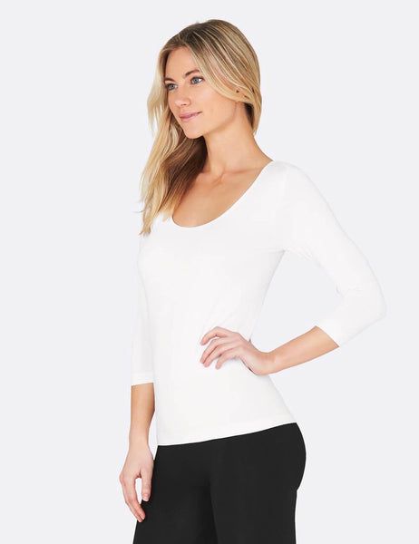 Boody Bamboo Scoop Neck Top with 3/4 Length Sleeve in Black or White-bamboofeet