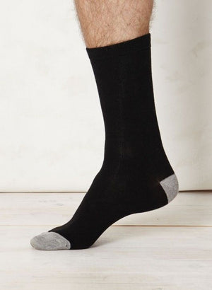 Solid Jack Plain Bamboo Socks in Black by Thought Clothing-bamboofeet
