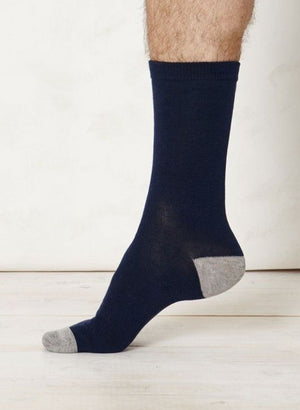 Solid Jack Plain Bamboo Socks in Navy by Thought Clothing-bamboofeet