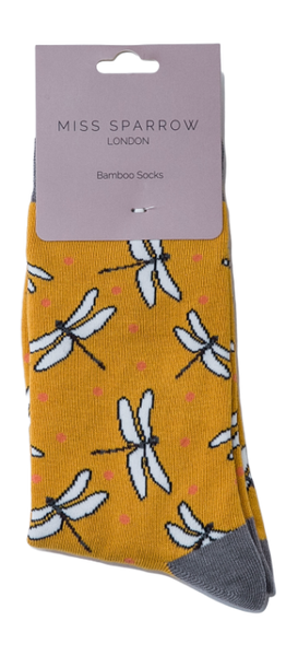 Dragonfly Bamboo Socks by Miss Sparrow, Size UK 4-7-bamboofeet