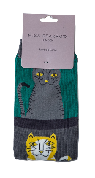 Cat and Stripes Bamboo Socks by Miss Sparrow, Size UK 4-7-bamboofeet