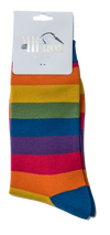 Thick Striped Rainbow Print Bamboo Socks by Mr Heron, Size UK 7-11-bamboofeet