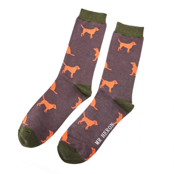 Labrador Print Bamboo Socks by Mr Heron, Size UK 7-11-bamboofeet