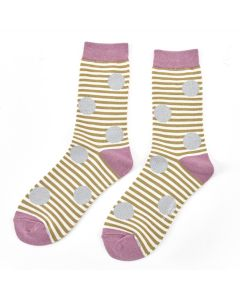 Sparkle Spots and Stripe Bamboo Socks by Miss Sparrow, Size UK 4-7-bamboofeet