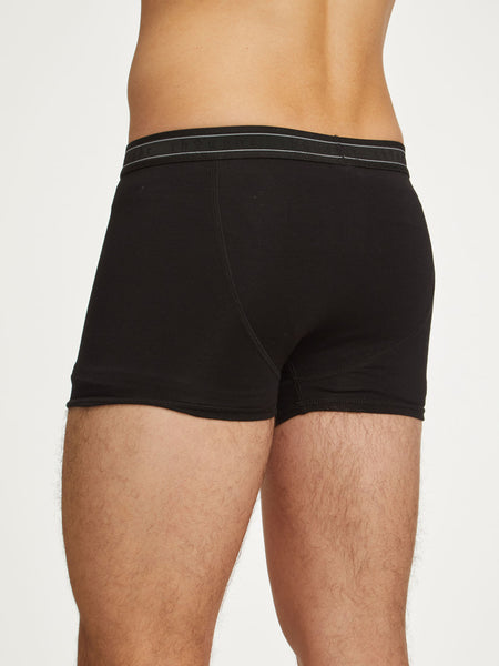 Men's Arthur Plain Bamboo Boxers in Black by Thought-bamboofeet