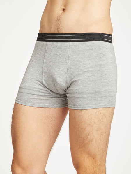 Men's Arthur Plain Bamboo Boxers in Grey Marle by Thought-bamboofeet