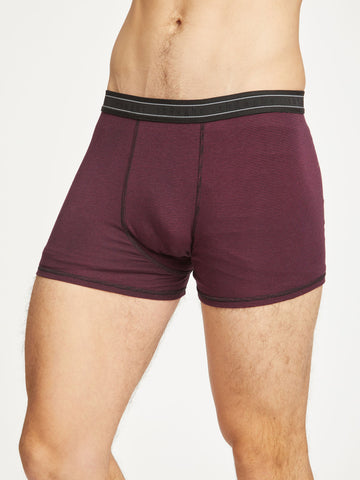 Men's Stripe Michael Bamboo Boxers in Bilberry by Thought-bamboofeet
