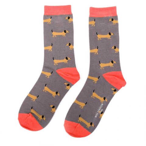 Sausage Dog Bamboo Socks by Miss Sparrow, Size UK 4-7-bamboofeet