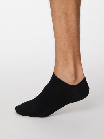 Ashley Bamboo Trainer Sock in Black by Thought, Size 7-11-bamboofeet