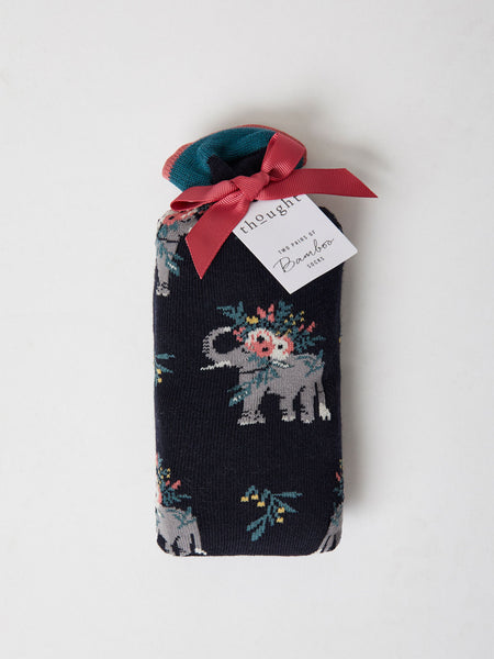2 Pack Pretty Elephant Bamboo Gift Socks In A Bag by Thought, Size 4-7-bamboofeet