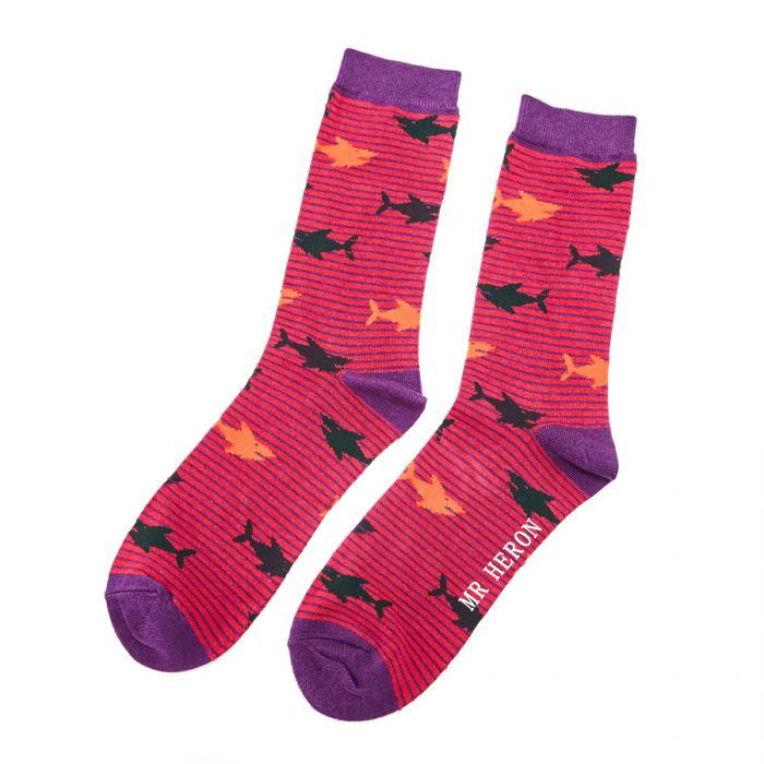 Shark Bamboo Socks in Red by Mr Heron, Size UK 7-11-bamboofeet