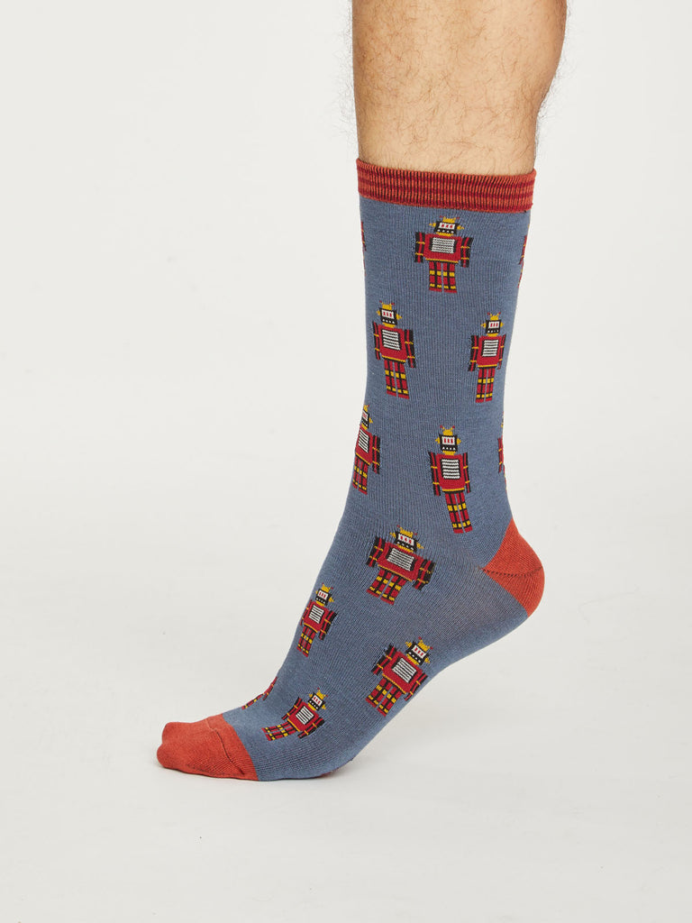 Robot Bamboo Socks in Slate Blue by Thought, Size 7-11-bamboofeet