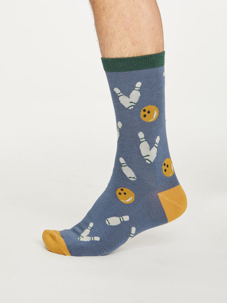 Gaming Ten Pin Bowling Bamboo Socks in Blue Slate by Thought, Size 7-11-bamboofeet