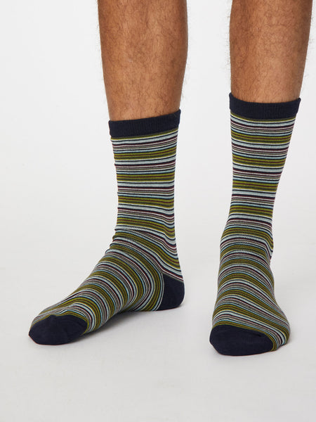 Michele Bamboo Striped Socks in Dark Navy by Thought, Size 7-11-bamboofeet
