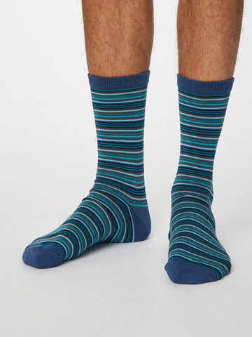 Michele Bamboo Striped Socks in Denim Blue by Thought, Size 7-11-bamboofeet