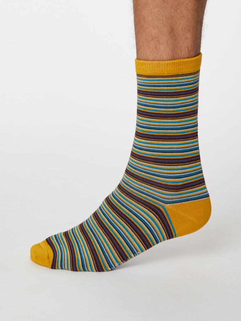 Michele Bamboo Striped Socks in Mustard Yellow by Thought, Size 7-11-bamboofeet