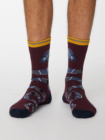Serpent Bamboo Snake Socks in Wine Red by Thought, Size 7-11-bamboofeet