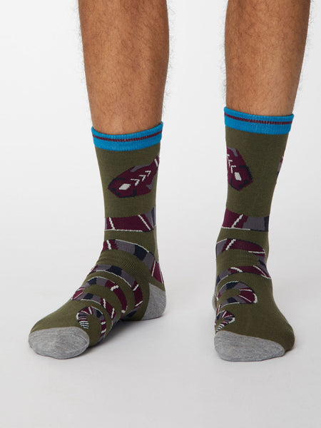 Serpent Bamboo Snake Socks in Khaki Green by Thought, Size 7-11-bamboofeet